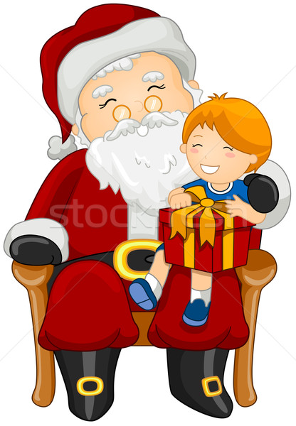 Stock photo: Santa and Child