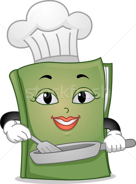 Książka kucharska maskotka ilustracja patelnia edukacji Zdjęcia stock © lenm