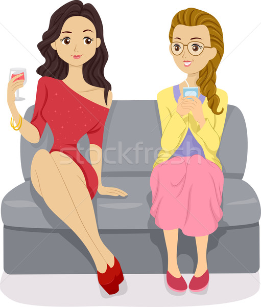 Stylish Girl and Nerdy Girl Stock photo © lenm