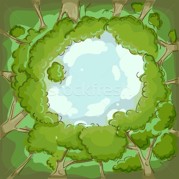муравьев деревья иллюстрация облака лес Сток-фото © lenm