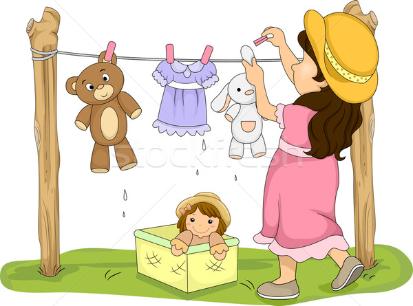 Illustration of a Little Girl Hanging Her Stuffed Toys to Dry Stock photo © lenm
