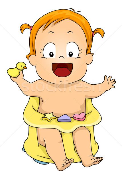 Baby Girl Bath Seat Stock photo © lenm
