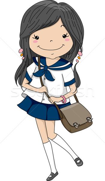 Vrouwelijke japans student illustratie matroos Stockfoto © lenm