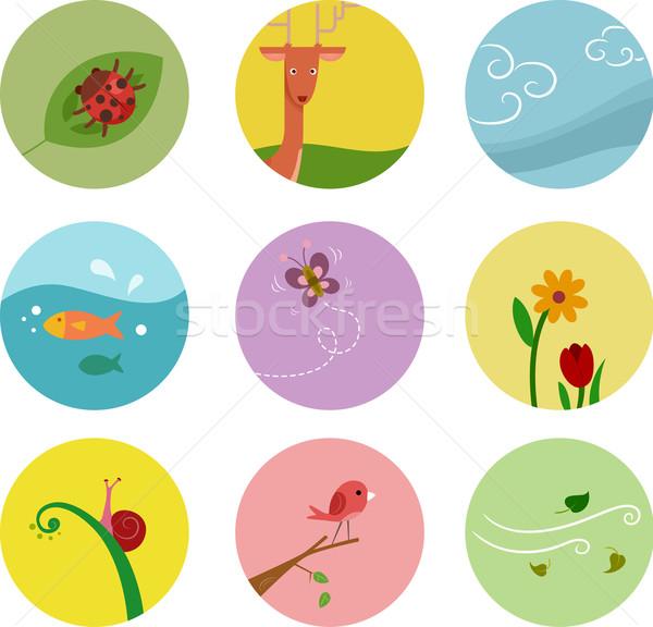 Charakter ikona ilustracja elementy inny życia Zdjęcia stock © lenm