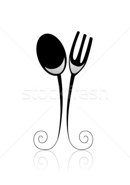 Dining zwart wit zwarte vork witte Stockfoto © lenm