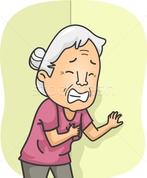Senior hartaanval illustratie ouderen vrouwelijke kunst Stockfoto © lenm