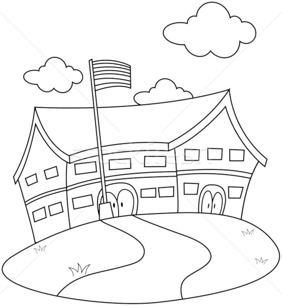 Line Drawing School : Educational material stock photos images and