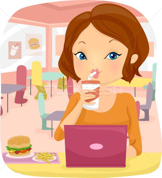 Meisje fast food laptop illustratie vrouw met behulp van laptop Stockfoto © lenm