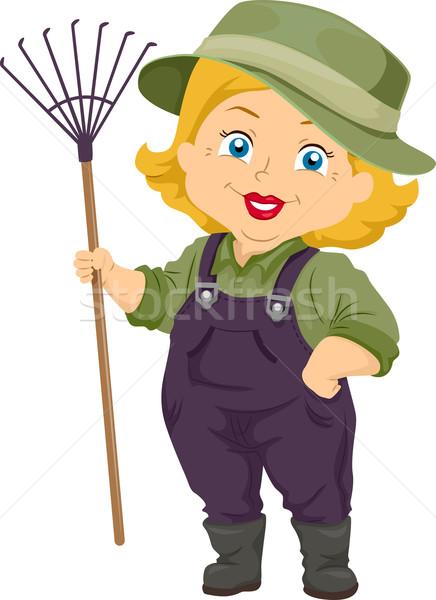 Senior donna giardinaggio rastrello illustrazione Foto d'archivio © lenm