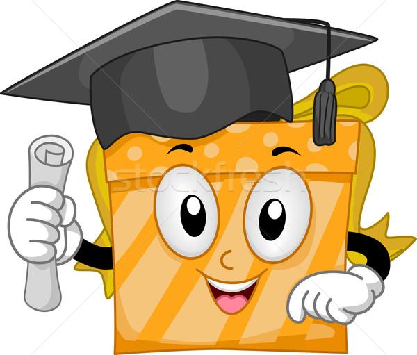 Mascotte afstuderen geschenk illustratie cap Stockfoto © lenm