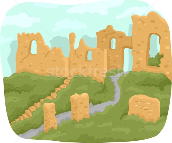 Ruinas ilustración antigua estructura edificio medio ambiente Foto stock © lenm