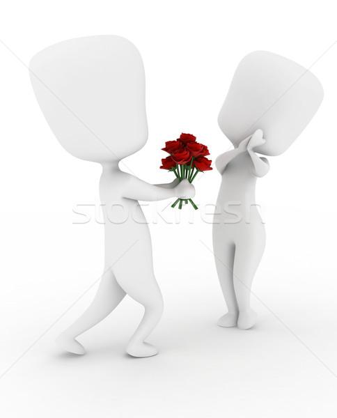 Man Giving Flowers Stock photo © lenm