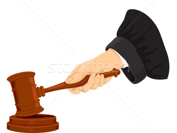 Hand Recht Hammer Illustration Richter Vektor Stock foto © lenm