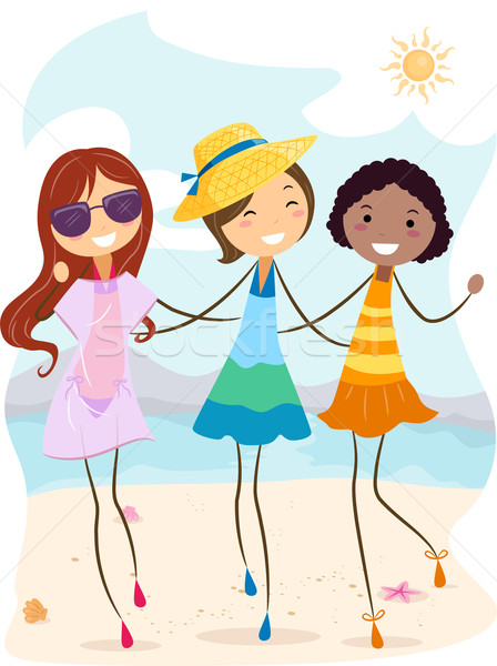 Summer Girls Stock photo © lenm