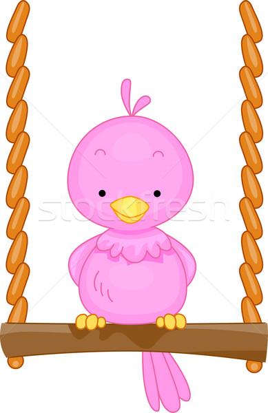 Oiseau Swing illustration mini animal cute Photo stock © lenm