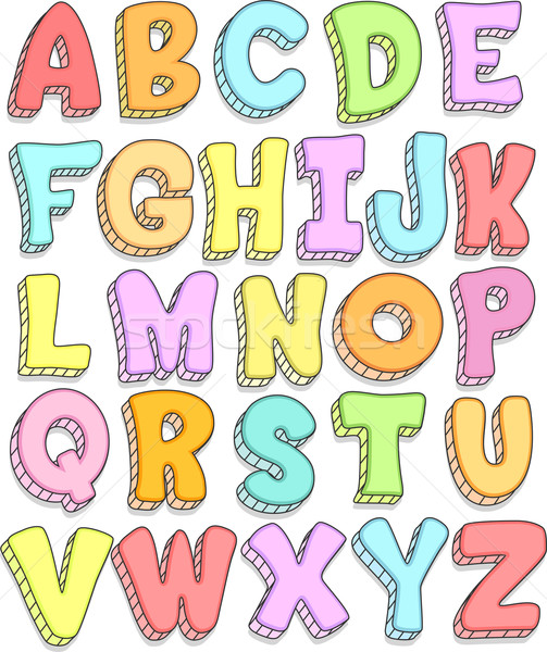Alphabet doodle illustration lettres web Photo stock © lenm