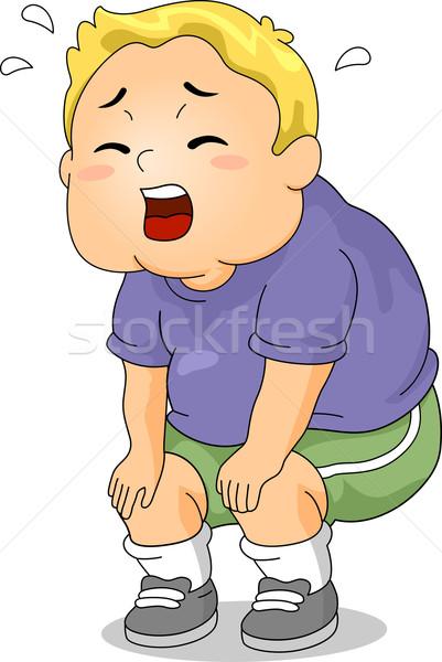 устал избыточный вес Kid иллюстрация мальчика фитнес Сток-фото © lenm
