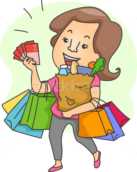Woman with Shopping Bags and Shopping Coupons Stock photo © lenm