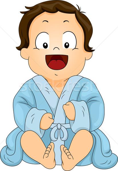 Baba fiú visel kék fürdőköpeny illusztráció Stock fotó © lenm