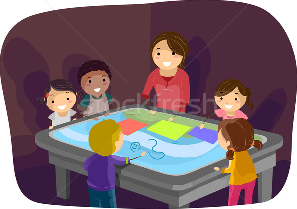 интерактивный поверхность таблице дети иллюстрация Сток-фото © lenm