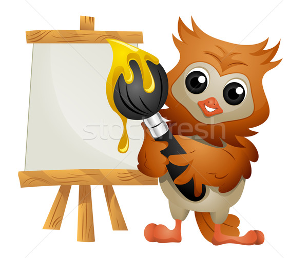 Chouette peintre peinture artiste cute Photo stock © lenm