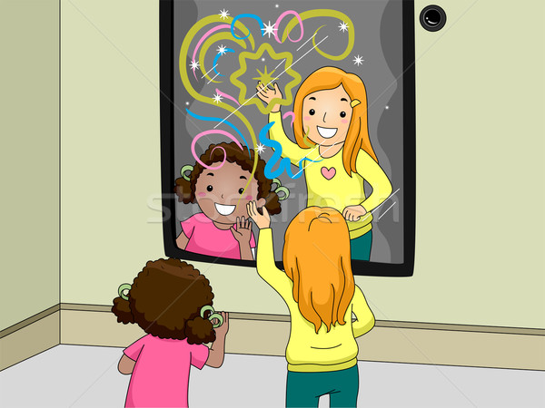 Interactive miroir illustration enfants heureusement jouer Photo stock © lenm