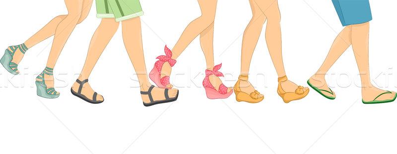 Szandál keret illusztráció sétál emberek visel Stock fotó © lenm