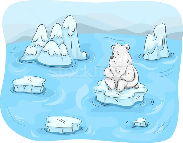 Ijsbeer mascotte illustratie ijs web Stockfoto © lenm