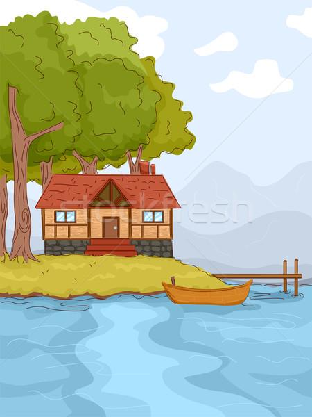 Cabina ilustración naturaleza verde lago arquitectura Foto stock © lenm