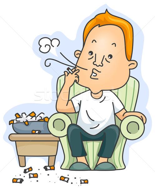 Chaîne fumeur homme fumée cigarette fumer Photo stock © lenm