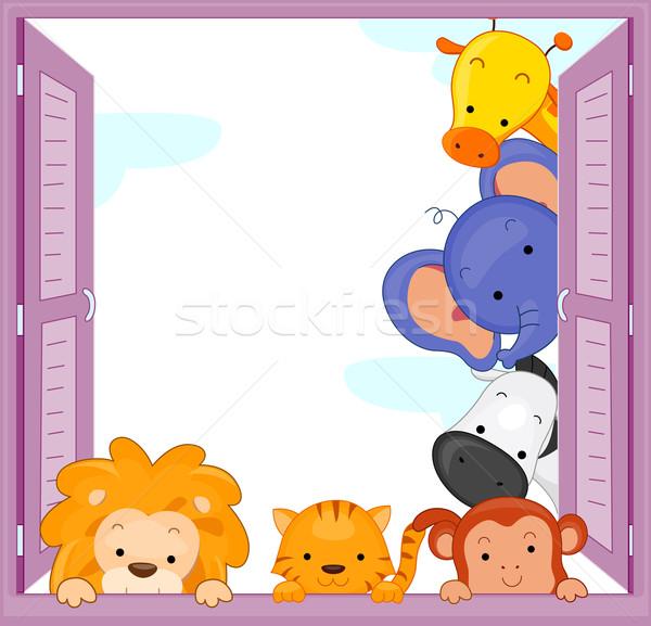 Zwierząt ilustracja zoo zwierzęta konia okno ramki Zdjęcia stock © lenm