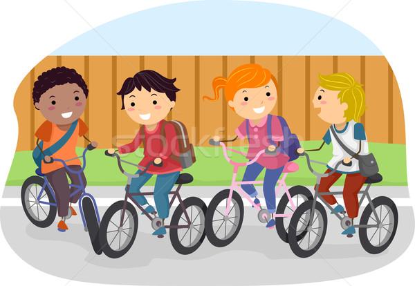 Gyerekek bicikli diák illusztráció lovaglás biciklik Stock fotó © lenm
