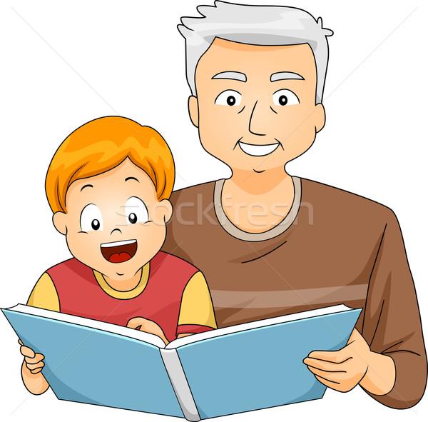 Großvater Lesung Enkel Illustration Junge digitalen Stock foto © lenm