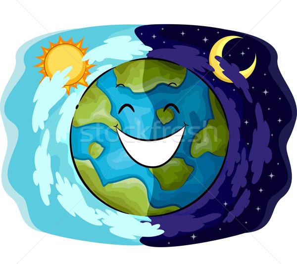 Mascot Earth Happy Day Night Stock photo © lenm