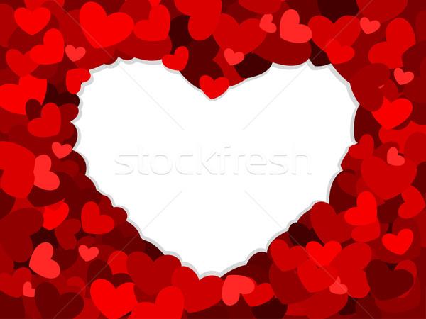 Szív keret üreges terv rajz románc Stock fotó © lenm