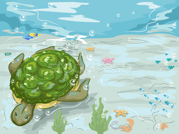 Teknős úszás vízalatti illusztráció úszik hal Stock fotó © lenm