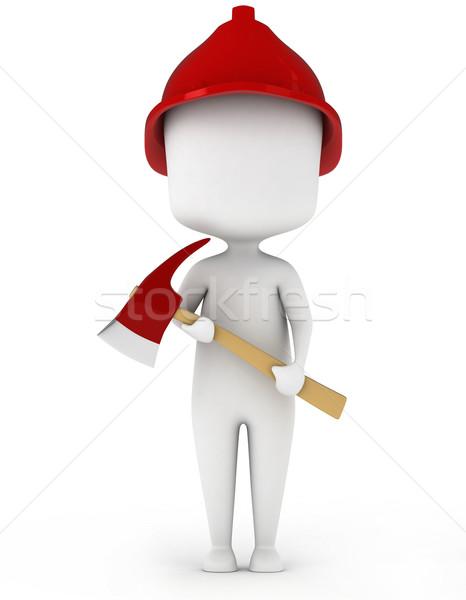 Strażak 3d ilustracji topór pracy facet Zdjęcia stock © lenm