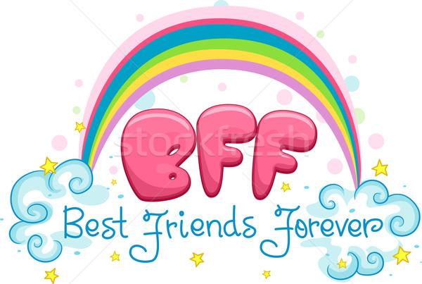 En İyi arkadaşlar sonsuza dek örnek sözler gökkuşağı karikatür Stok fotoğraf © lenm