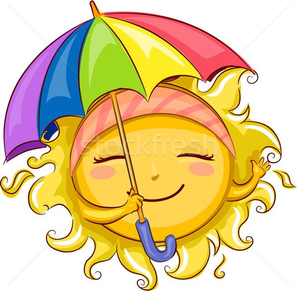 Foto stock: Sol · paraguas · ilustración · ola · protección