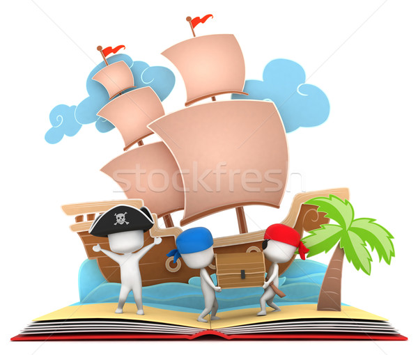 Pirate histoire 3d illustration enfants Photo stock © lenm
