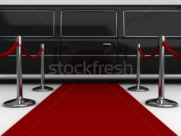 Rode loper 3d illustration Rood tapijt beroemdheid 3D Stockfoto © lenm