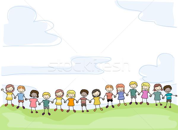 Gyerekek illusztráció mosolyog bot kéz a kézben egység Stock fotó © lenm
