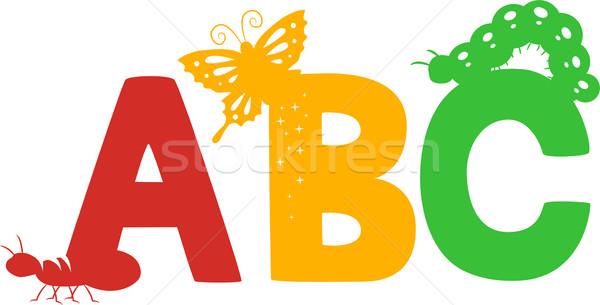 Rovarok sziluett illusztráció színes oktatás olvas Stock fotó © lenm