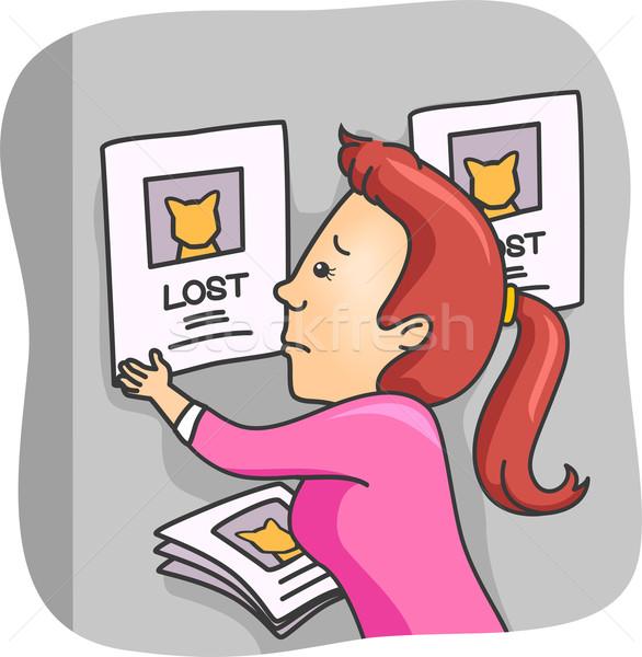 Stracił domowych ilustracja kobieta plakaty kot Zdjęcia stock © lenm
