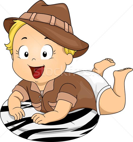Bebê safári traje ilustração menina Foto stock © lenm