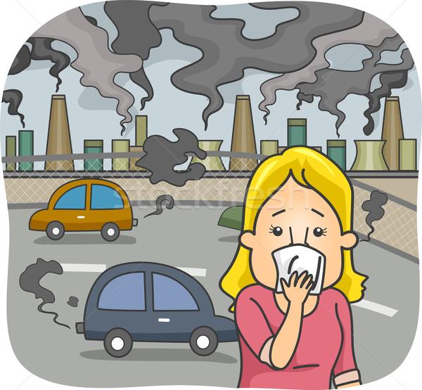 Levegő szennyezés illusztráció nő város lány Stock fotó © lenm