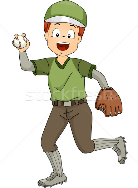 Baseball ilustracja młodych sportowe chłopca cyfrowe Zdjęcia stock © lenm