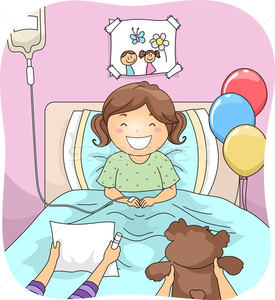 Kórház látogatók illusztráció kislány barátok lány Stock fotó © lenm