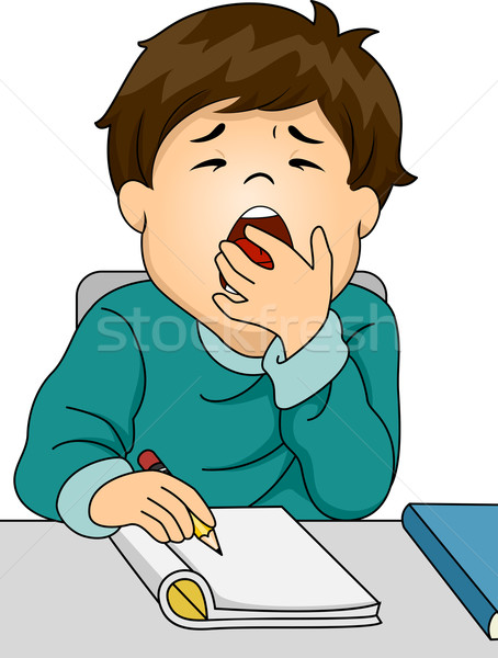 Boy Yawning While Studying Stock photo © lenm