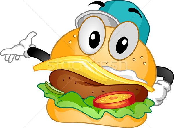 Mascotte Burger illustration cheeseburger sandwich Photo stock © lenm
